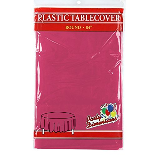 """Hot Pink Round Plastic Tablecloth - 8 Pack - Premium Quality Disposable Party Table Covers for Parties and Events - 84"""" - By Party Dimensions - Round Buffet Table Clothes"""