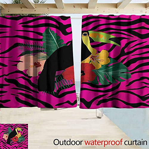 (AndyTours Rod Pocket Curtains,Pink Zebra Toucan Bird Sitting on Hibiscus Plants Flowers Large Leaves on Zebra Background,Blackout Draperies for Bedroom,W55x45L Inches,Multicolor)