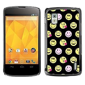 Caucho caso de Shell duro de la cubierta de accesorios de protección BY RAYDREAMMM - LG Google Nexus 4 E960 - Face Funny Emoticon