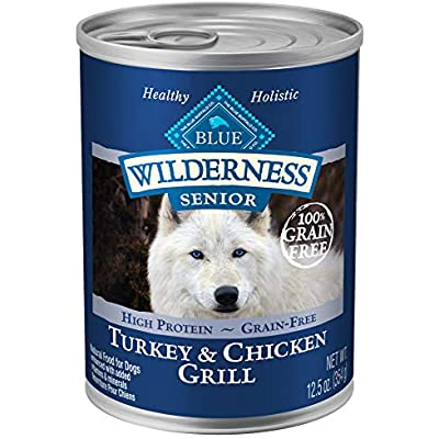 Blue Buffalo Wilderness High Protein Grain Free, Natural Senior Wet Dog Food, Turkey & Chicken Grill 12.5-oz can (pack of 12)