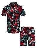 COOFANDY Men's Flower Shirt Hawaiian Sets Casual