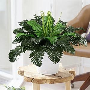 HO2NLE 2PCS Artificial Boston Ferns Shrubs Silk Fake Greenery Plants Home Garden Wedding Patio Outdoor Balcony Hanging Pot Decor 6