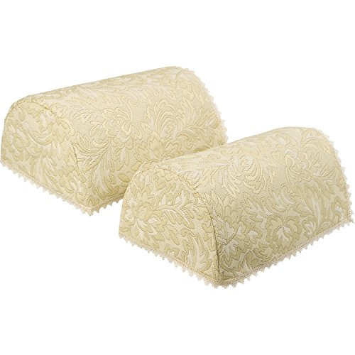 Classic Home Store Decorative Pair of Standard Round Arm Caps Traditional Floral Jacquard (Cream) ()