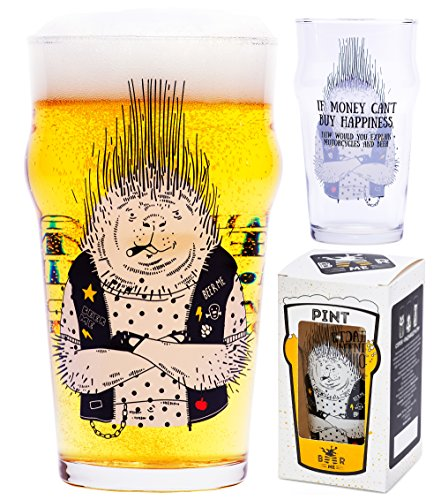 Beer-Glass-Porcupine-Biker-17-oz-Perfect-Funny-Gift-for-Him-Coworker-Roommate-Geek-and-Present-for-Dad-Classic-British-Pint-Shape-Specially-for-Beer-Lovers-Premium-Quality