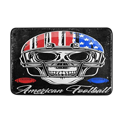 Brownnrio Vintage American Flag Football Sugar Skull Doormat