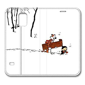 BESTER VUTTOO Samsung Galaxy S5 Case, Galaxy S5 Case - Premium PU Leather Case Protector Cover for Samsung Galaxy S5 Calvin_And_Hobbes_Winter Wallet Leather Case for Samsung Galaxy S5