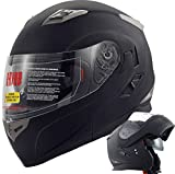 Orion Voyager Modular Flip-up Street Bike Cruiser Motorcycle Helmets with Drop-down Inner Sun Shield DOT (XL, Matte Black)