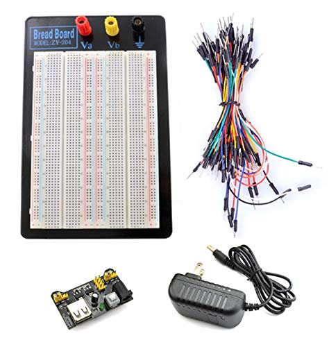 Tektrum Externally Powered Solderless 1660 Tie-Points Experiment Plug-in Breadboard with Aluminum Back Plate, Jumper Wires, Power Module, Wall Adaptor for Proto-Typing Circuit/Arduino/Raspberry Pi