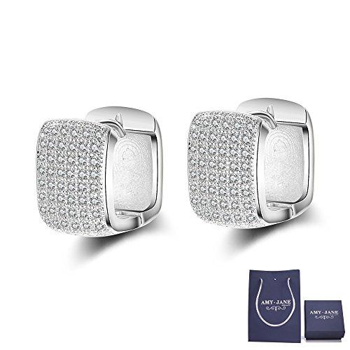 14k White Gold Square Box (White Gold Huggie Hoop Earrings - AMYJANE 14K White Gold Cubic Zirconia Square Cut Huggie Hoop Earrings for Women)