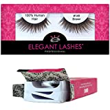 Elegant Lashes #148 Brown (Triple Pack - 3 Pairs) | Thick Double-Layer Criss-Cross 100% Natural Human Hair False Eyelashes