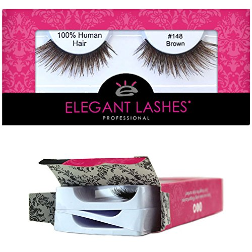 Elegant Lashes #148 Brown (Triple Pack - 3 Pairs) | Thick Double-Layer Criss-Cross 100% Natural Human Hair False Eyelashes by Elegant Lashes
