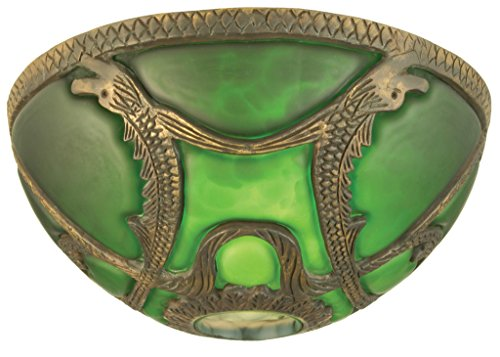 Meyda Victorian Art - 9.5 Inch Dome Shade Theme VICTORIAN ART GLASS GOTHIC ANIMALS NOUVEAU