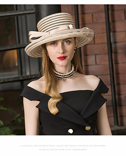 Krastal Womens Fascinators British Ladies Wide Brim Hat Vintage Kentucky Derby Fedora by Krastal (Image #4)