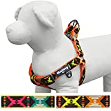 """Blueberry Pet Soft & Comfy Step-in Vintage Tribal Pattern Padded Dog Harness, Chest Girth 15.5"""" - 19.5"""", Extravagant Orange, XS/S, No Pull Adjustable Harnesses for Dogs"""