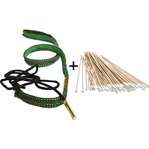 Bore Snake Barrel Cleaner Rifle AR-15 Pistol Boresnake Gun Cleaning Kit for .22 .223 .303 .308 .38 .357 .380 Cal 5.56mm 7.62mm 9mm caliber, Pack of 2 (.22 .223 Cal Bore Snake with Cotton Swab) (Ruger Rifle Barrels)