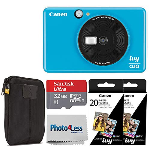 Canon Ivy CLIQ Instant Camera Printer (Seaside Blue) + Canon 2 x 3 Zink Photo Paper Pack (40 Sheets) + SanDisk Ultra 32GB microSDHC Memory Card + Photo4Less Cleaning Cloth – Full Accessory Bundle