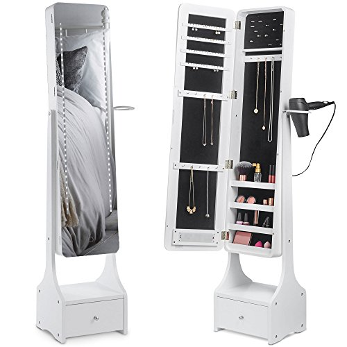 Beautify Touch Screen LED Jewelry Cabinet Armoire Illuminating Mirrored Light Standing Organizer with Mirror, Makeup Storage and Drawer - - Mirror Out Cut
