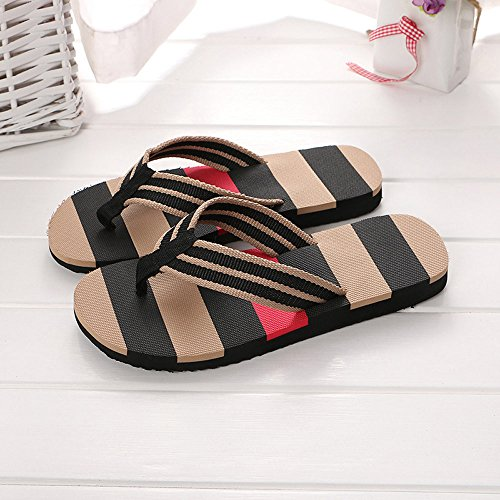 Corriee Mens Fashion Striped Printed Indoor Outdoor Flip Flops Breathable Anti-Slip Shoes Male Summer Slippers Black by Corriee (Image #1)