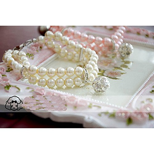 XDOBO 2 Rows Handmade Pink Pearls Rhinestones Pet Necklace Collar with Bling Diamond Fancy Dog Cat Jewelry Necklace S (white)