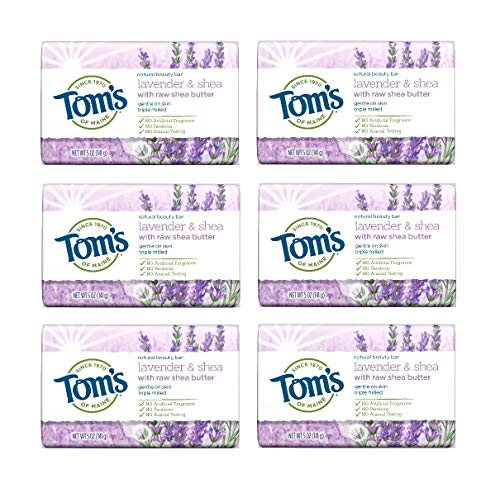 Tom's of Maine Natural Beauty Bar Soap With Raw Shea Butter, Lavender & Shea, 5 Ounce, 6 Count ()