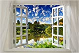 Window onto beautiful Lake SCENIC POSTER 24X36 water reflection BLUE SKY - (not a decal)