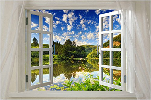 Window onto beautiful Lake SCENIC POSTER 24X36 water reflect