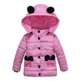 Little Kids Winter Warm Coat,Jchen(TM) Fashion Kids Little Boys Kids Coat Boys Girls Thick Coat Padded Dot Bow Cartoon Ear Winter Outwear Coat for 1-4 Y (Age: 1-2 Years Old, Pink)