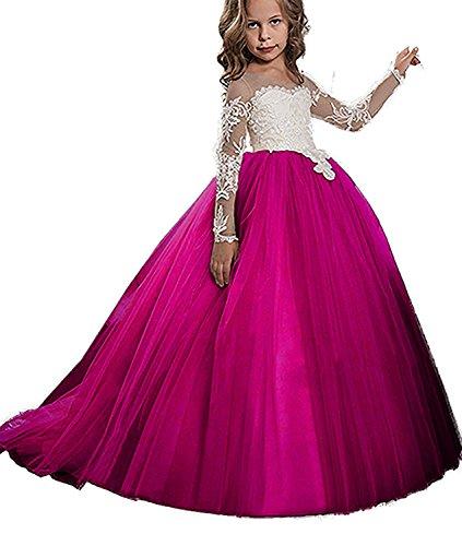 KSDN Girls Toddler Pageant Dress Princess Ball Gown Flower Princess Girls Dress(US 14 Hot Pink) ()
