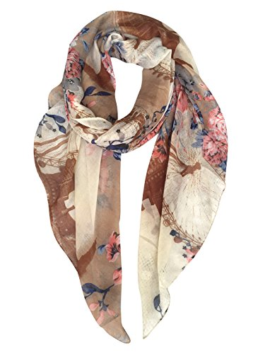 GERINLY Womens Scarves: Ferris Wheel Print Soft Voile Wrap Scarf (Ladies Business Scarf)