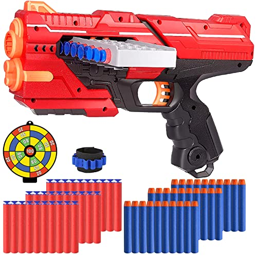 Toy Gun for Nerf Bullets, Dart Gun Toy with 12 Clip Magazine, Wristband Strap and 60 Soft Foam Bullets, Blaster Gun Kids Garden Outdoor Game Toys, Birthday for Boys Girls Aged 6+ year