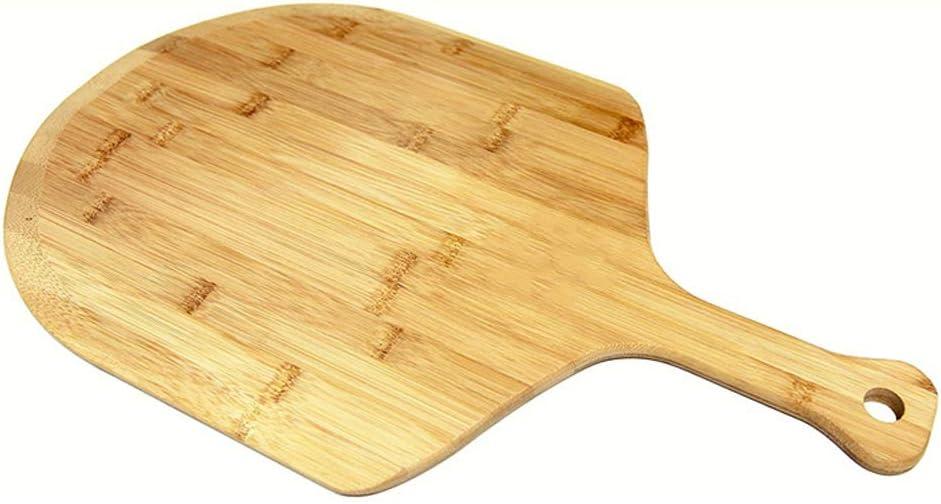 QAX - Pala de madera para pizza (30,4 x 38 x 1,2 cm), diseño de paletas de bambú con asa para horno y barbacoa, 58,4 x 38 x 1,2 cm