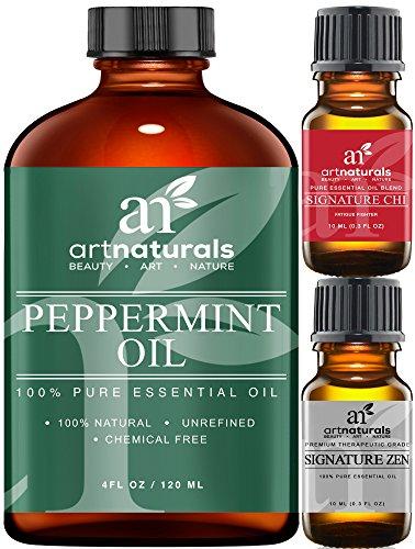 Art Naturals Pfefferminz Öl 118 ml, 100% Pure & Naturreine Premium Qualität | Therapeutisch Ätherisches Öl | Mentha Piperita | Erfrischender Duft für Heim & Büro | Heilend und Stimulierend