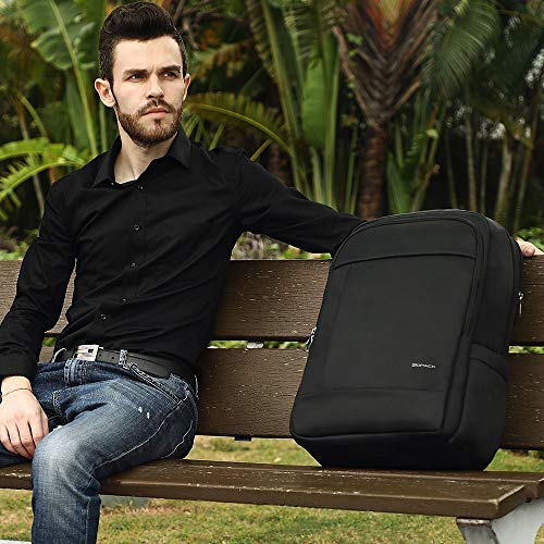 c80d5c0f4f1b ... kopack Deluxe Black Waterproof Laptop Backpack 15.6 17 Inch Travel Gear  Bag Business Trip Computer Daypack ...
