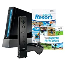 Wii Console with Wii Sports, Wii Sports Resort & Wii Motion Plus - Black - Standard Edition
