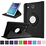 TGK 360 Degree Rotating Leather Smart Rotary Swivel Stand Case Cover for Samsung Galaxy Tab E (9.6 inch) SM- T560, T561,T565, T567V (Black)