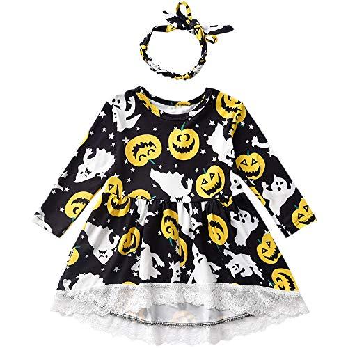 Toddler Girl Halloween Outfit Jack-O'-Lantern Print T-Shirt Dress with Headband ()