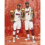 LeBron James Dwyane Wade NBA & MVP Trophies Miami Heat Photo
