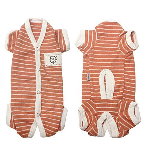 TONY HOBY Female/Male Pet Dog Pajamas Stripes 4 Legged Dog pjs Jumpsuit Soft Cotton Dog Clothes(L, Orange+White-Boys)]()