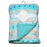 CRIBMATES Reversible Baby Boys Soft Plush Blanket Diamond Design
