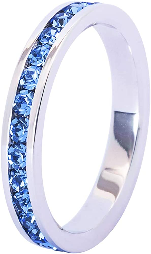 Bosvision Muse Art Design - Anillo Eternidad (Anillo Banda) con Piedra del Nacimiento de Cristal de Swarovski