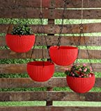 YOUNG CRAFTS Hanging Planters Plastic Pots with Hanging Chains (Pack of 3) Red Color