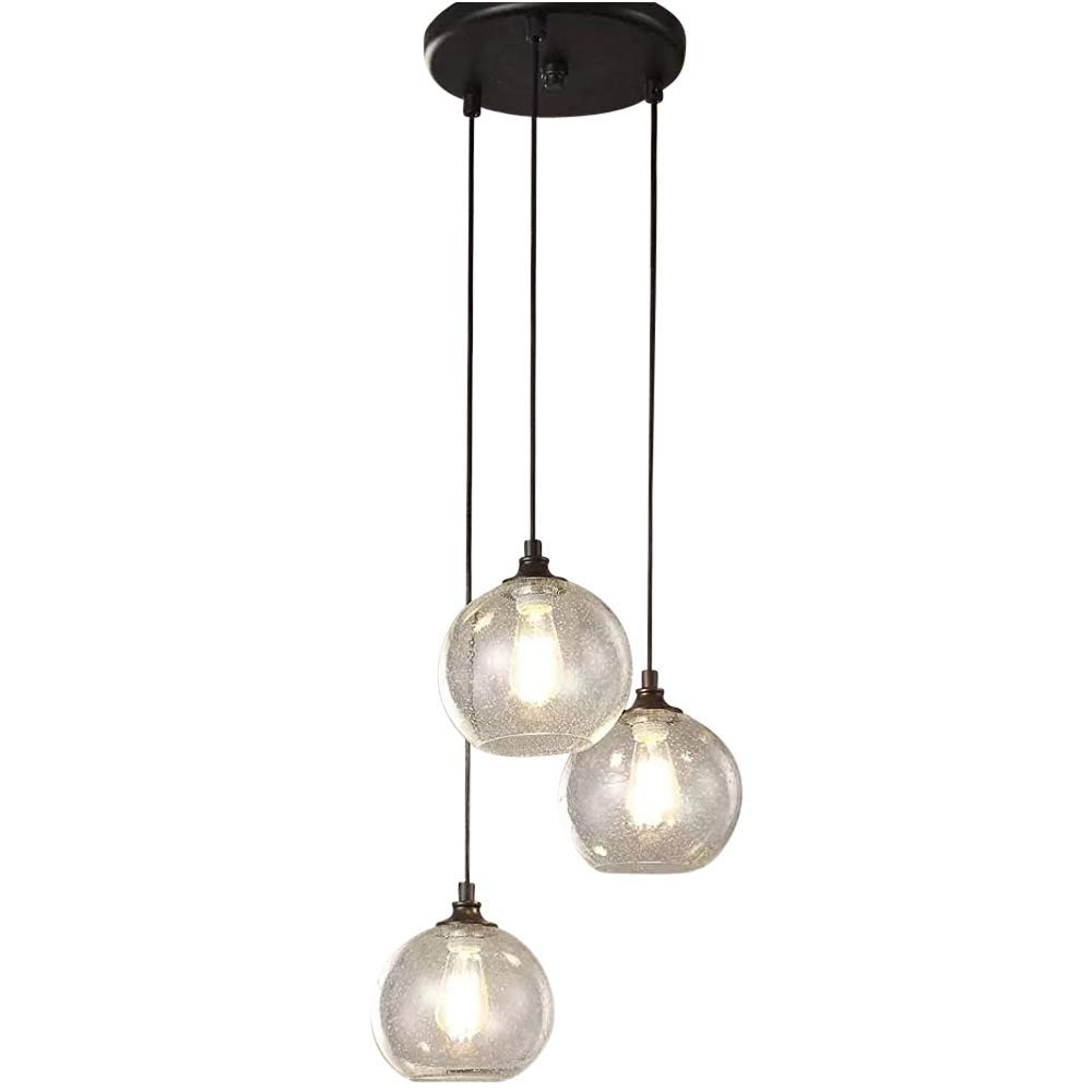 Round light fixture provides contemporary lighting glass drop hanging lamp set suitable for high and low ceilings 17 inch orb pendant