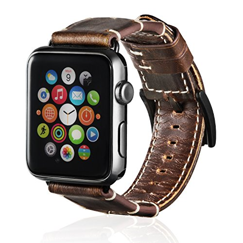 Price comparison product image ArtKen Smart Watch Band 42mm,Genuine Leather iWatch Band Replacement Strap with Stainless Metal Clasp Suitable for Apple Watch Series 2, Series 1, Series 3, Sport Edition(Brown)
