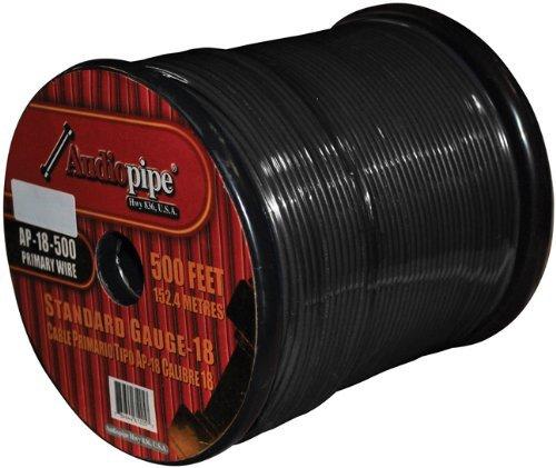 18 GA 500 Feet Black Primary Power Wire Remote Car Audio Home (1 Roll)