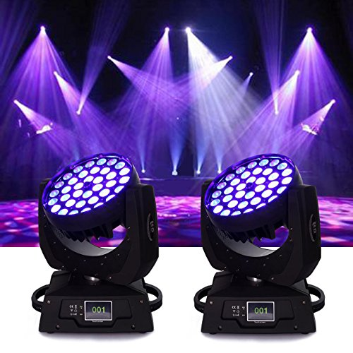 Ridgeyard 36x10W 4 Color RGBW LED Moving Head Beam Stage Light Spotlight Lamp Touch Screen 16CH DMX512 Disco DJ Club Wedding Birthday Christmas Party ( 2pcs )