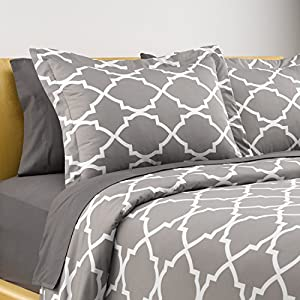 Karalai Grey Lattice Duvet Set Queen Size 1 Duvet Cover plus 2 Shams Hotel Quality
