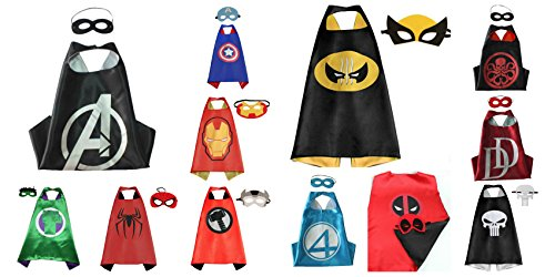 [Athena Superheroes Dress Up 12 Satin Capes and 12 Felt Masks Gift Box Included] (Heroes And Villains Dress Up)