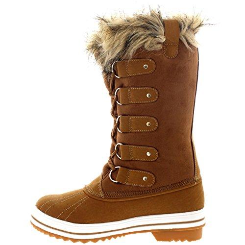 Chaussure Tan Suède Polar Femmes Hiver Bottes Pluie Caoutchouc Fourrure Brassard Neige 1xg1KPqpFw