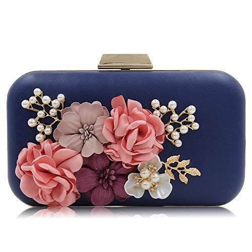 color Noche La Embrague Pejgd Bandolera Vestido Del Banquete Señora Bolsos De Azul Bag Para El Flower Conveniente Mujer Boda Clutch Rosado Bolso XSqHzwFq