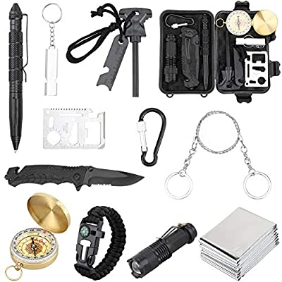 NIANPU Emergency Survival Kit,12 in 1 Outdoor Survival Gear Lifesaving Tools with Folding Knife, Compass, Fire Starter, Flashlights for Camping Hiking Wilderness Adventures and Disaster Preparedness from NIANPU